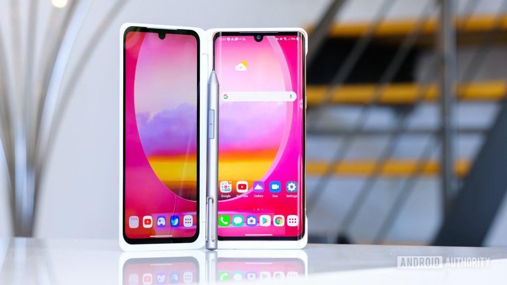 LG Velvet in dual screen standing up 4